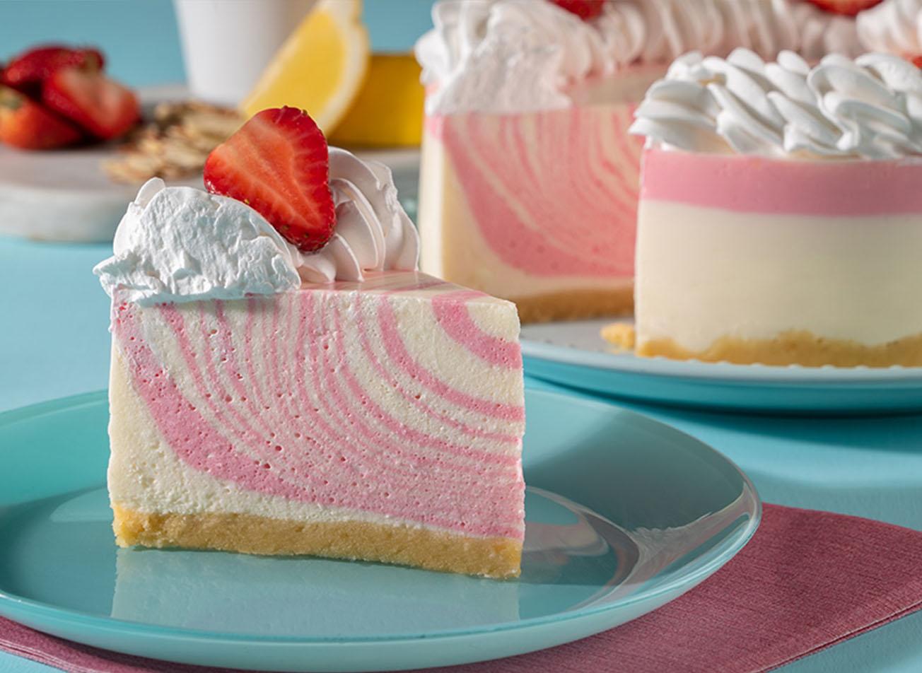 Cheesecake de fresa tipo zebra